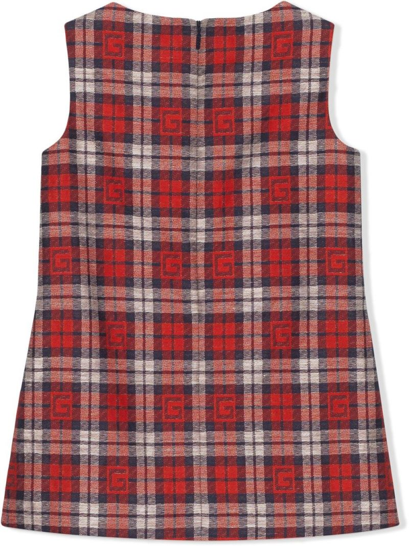 GUCCI CHILDREN: Square G check cotton linen blend sleeveless dress Color Red_2