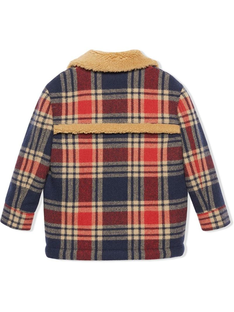GUCCI CHILDREN: Interlocking G embroidered wool blend jacket Color Blue_2