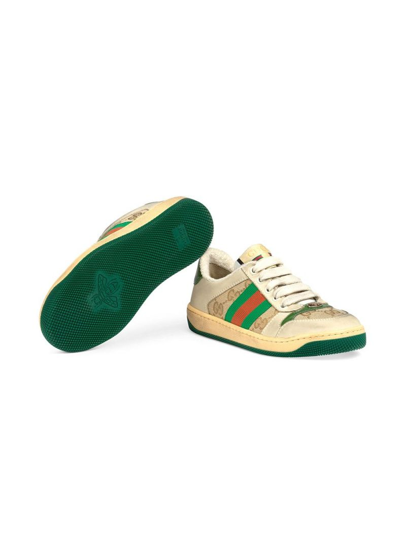 GUCCI CHILDREN: Screener nabuk and canvas sneakers Color Multicolor_2