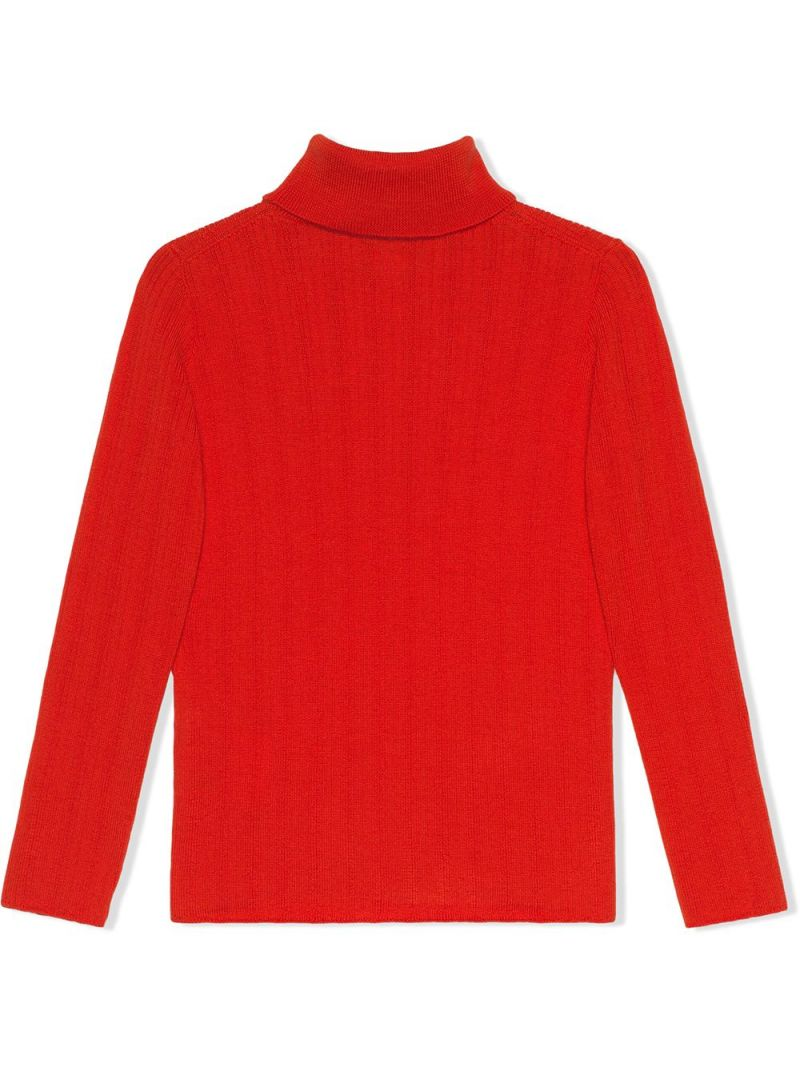 GUCCI CHILDREN: Interlocking G embroidered wool turtleneck Color Orange_2