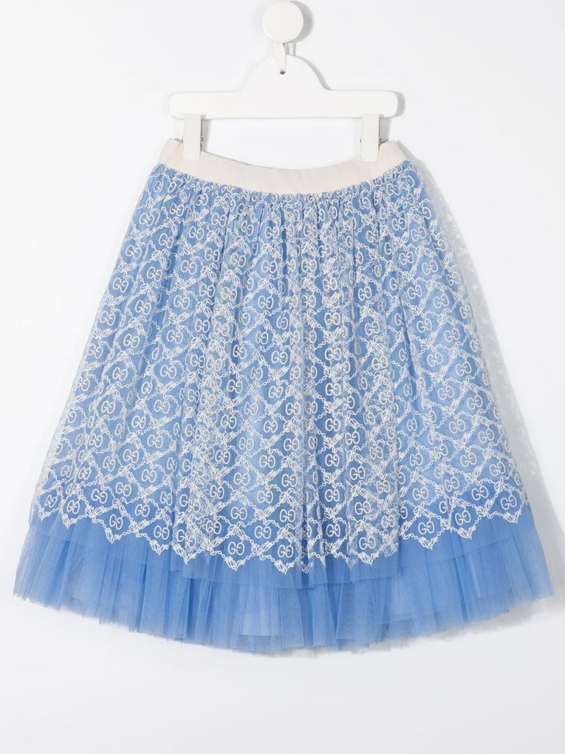 GUCCI CHILDREN: GG embroidered tulle flared skirt_2