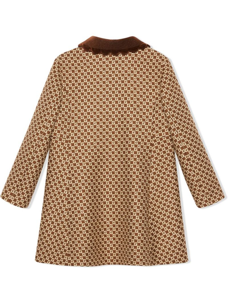 GUCCI CHILDREN: double-breasted GG wool blend coat Color Brown_2