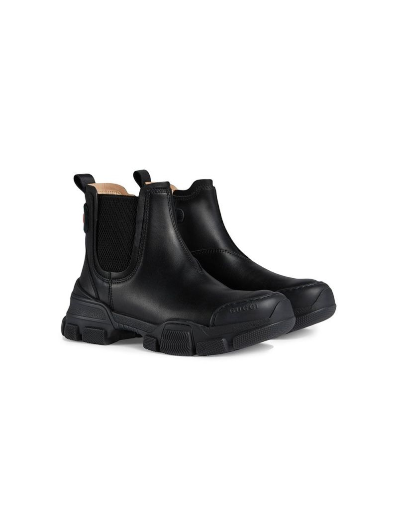 GUCCI CHILDREN: smooth leather chelsea boots Color Black_1