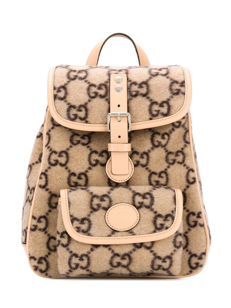 GUCCI CHILDREN: GG wool backpack Color Brown_1