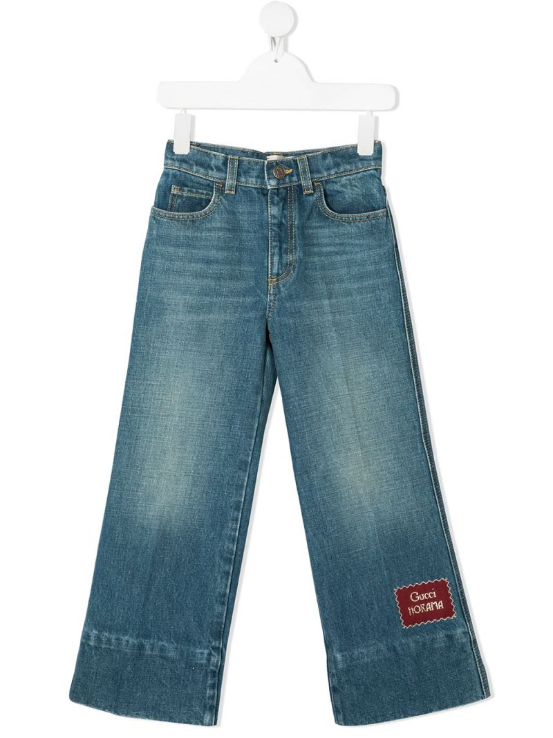 GUCCI CHILDREN: wide-leg logo patch jeans Color Blue_1