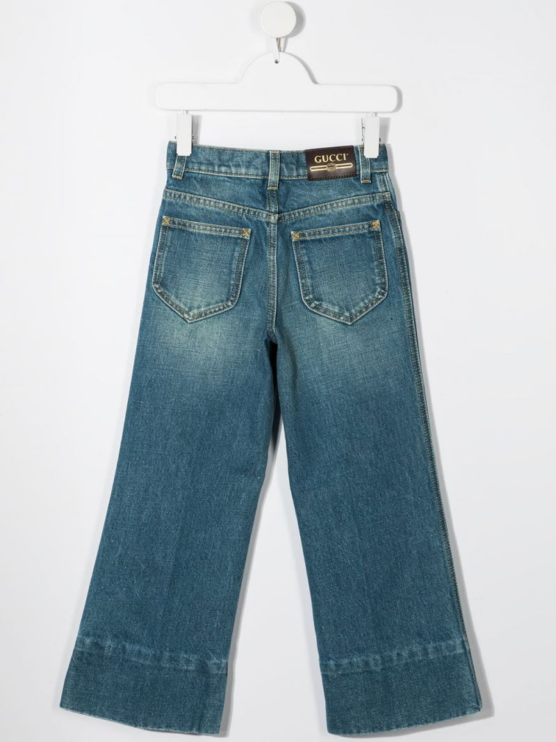 GUCCI CHILDREN: wide-leg logo patch jeans Color Blue_2