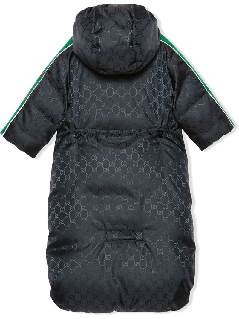 GUCCI CHILDREN: GG nylon down jacket with bunting Color Blue_2