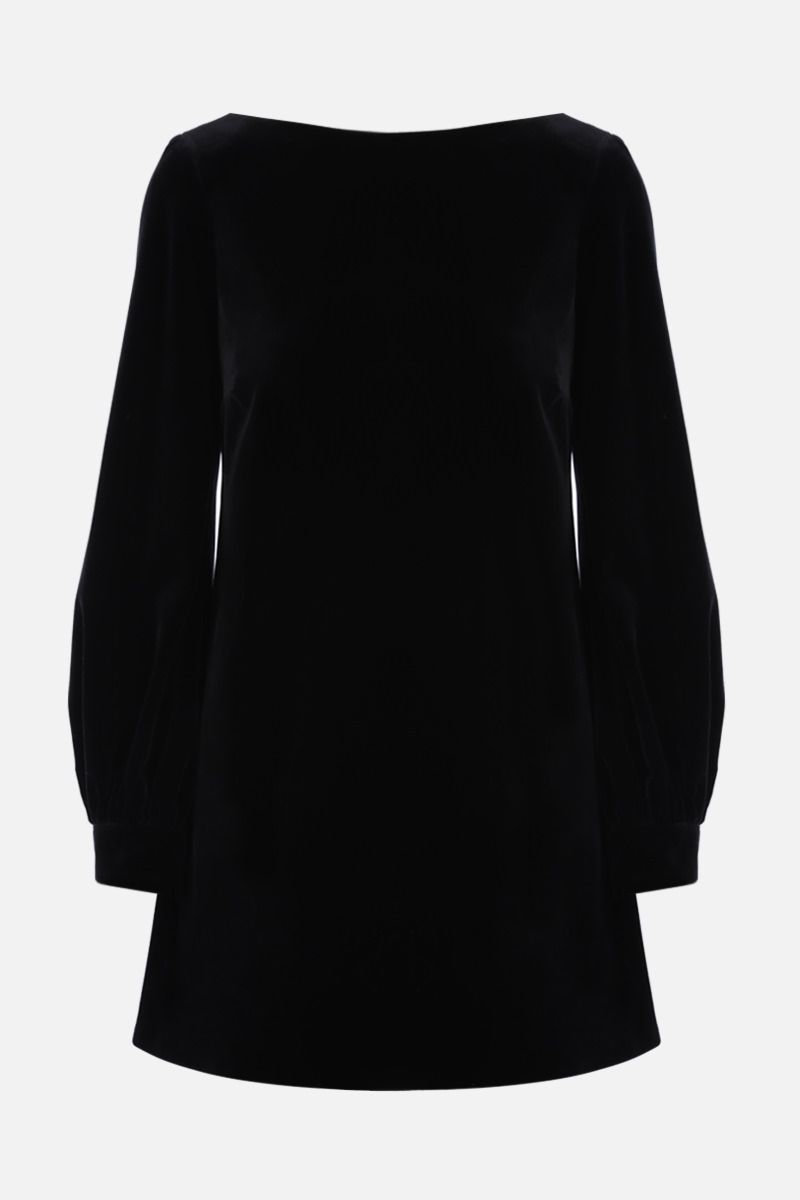 GUCCI: bow-detailed soft velvet minidress Color Black_1