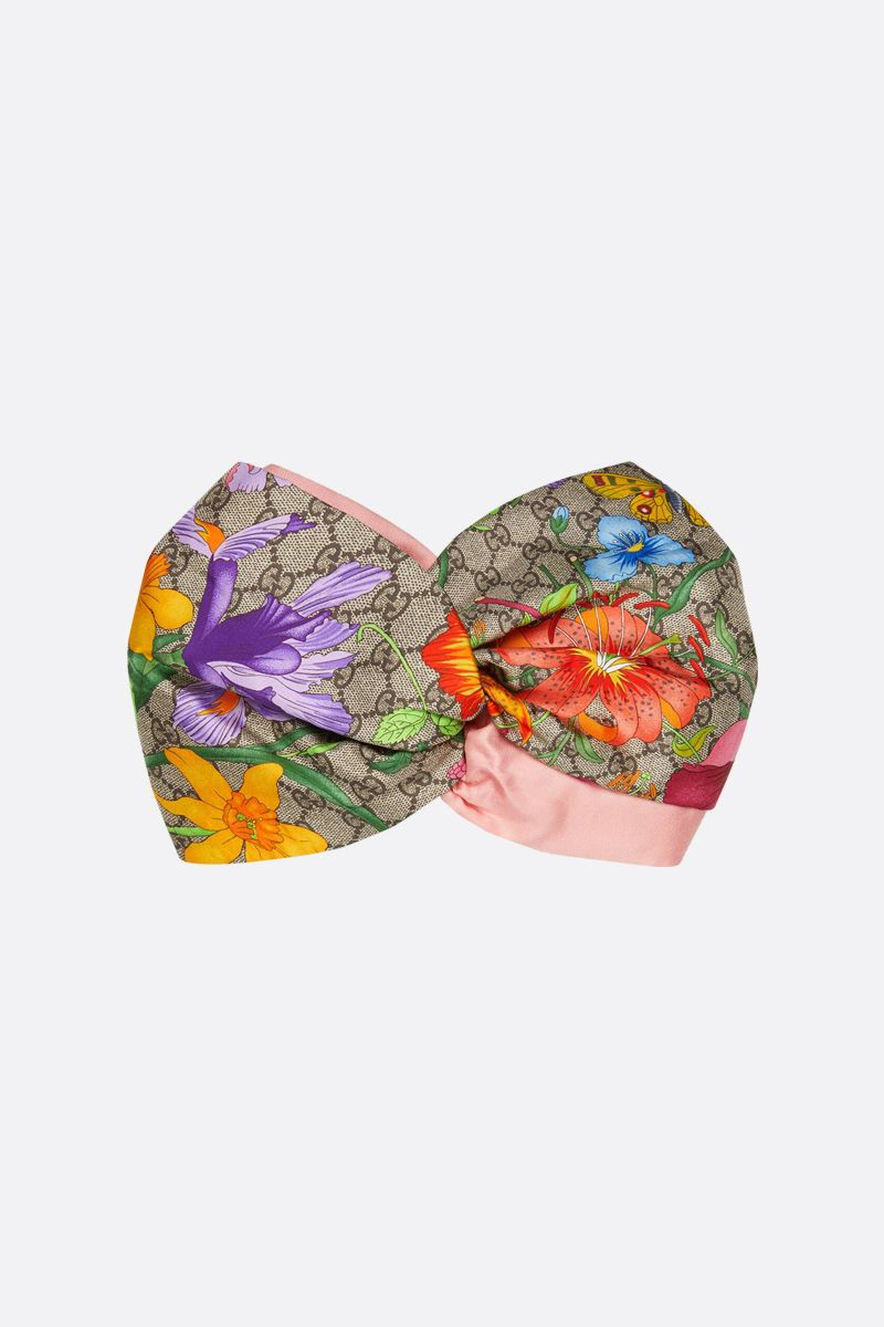 GUCCI: GG Flora print silk headband Color Multicolor_1