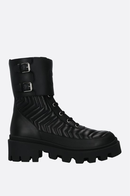 GUCCI: Double G-detailed quilted leather combat boots Color Black_1