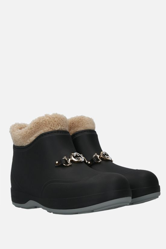 GUCCI: Horsebit-detailed rubber ankle boots Color Black_2