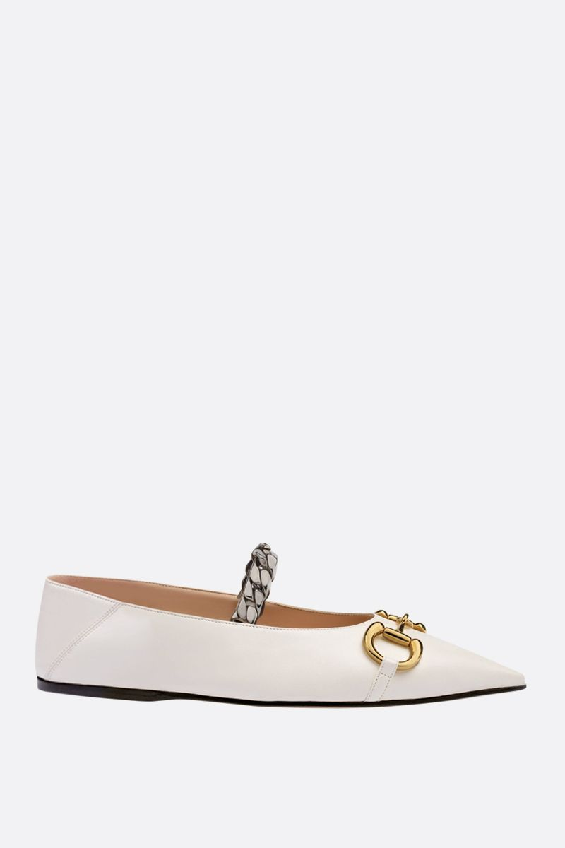 GUCCI: Horsebit-detailed smooth leather ballerinas Color White_1
