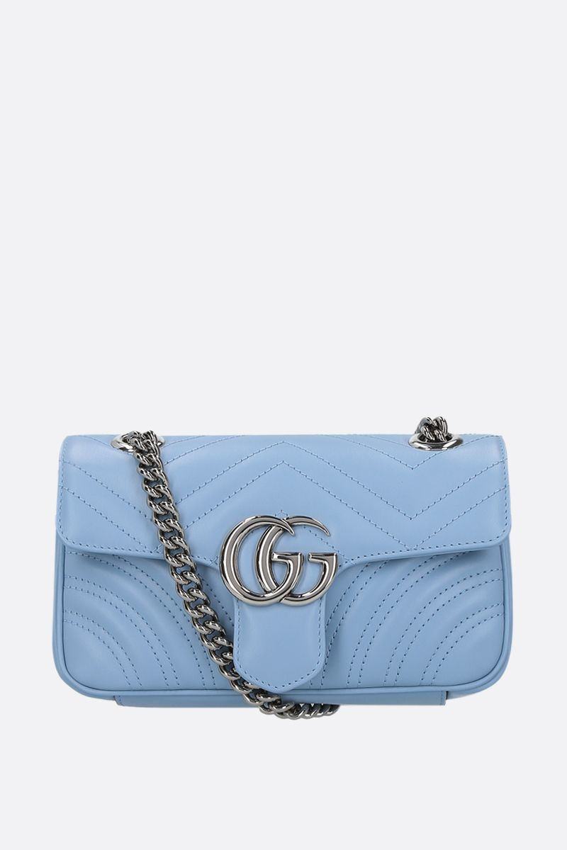 GUCCI: GG Marmont mini quilted leather shoulder bag Color Blue_1