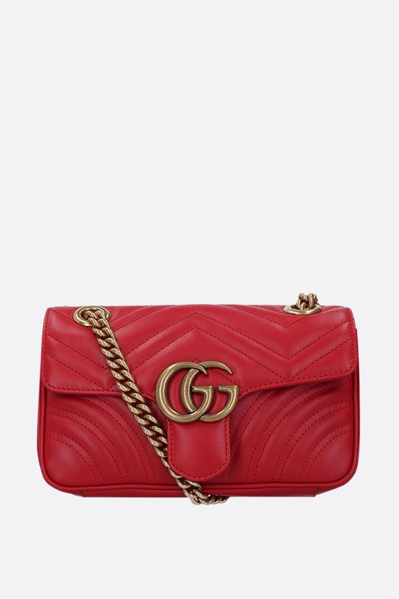 GUCCI: GG Marmont mini quilted leather shoulder bag Color Red_1