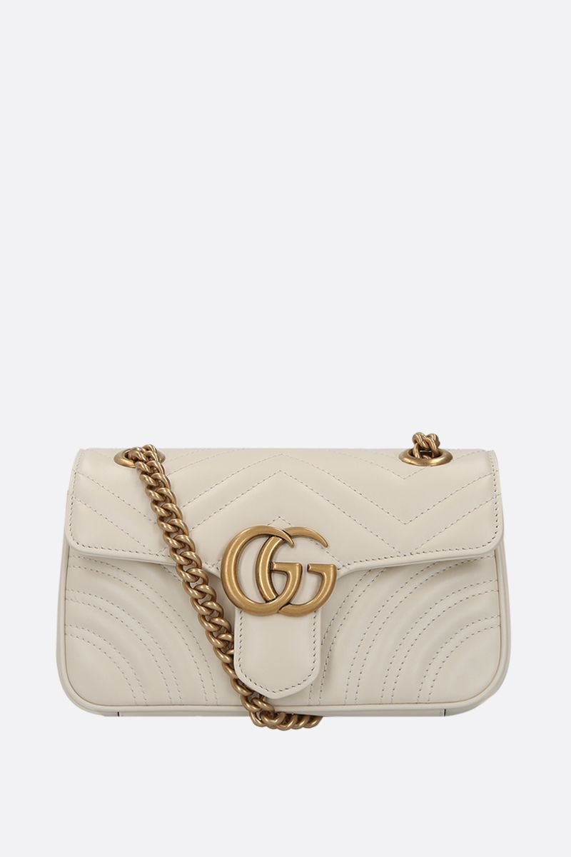 GUCCI: GG Marmont mini quilted leather shoulder bag Color White_1