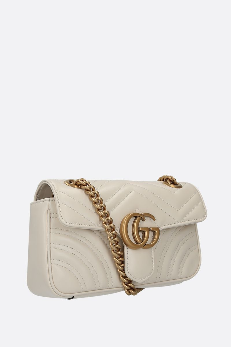 GUCCI: GG Marmont mini quilted leather shoulder bag Color White_2