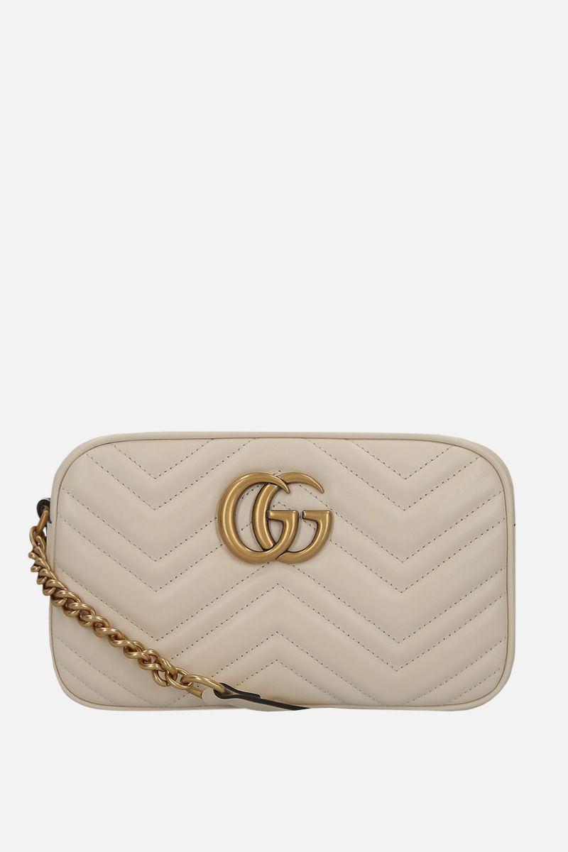 GUCCI: GG Marmont small quilted leather crossbody bag Color White_1