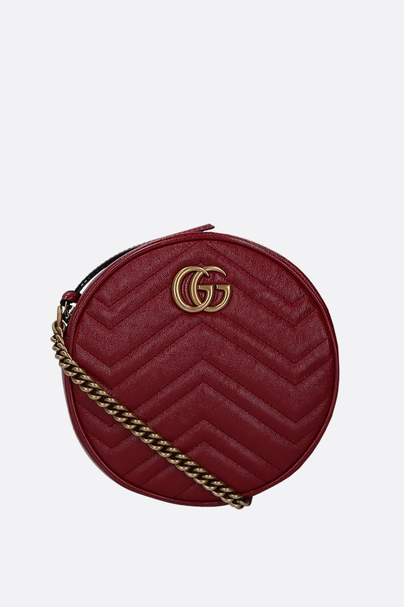GUCCI: mini GG Marmont quilted leather crossbody bag Color Red_1