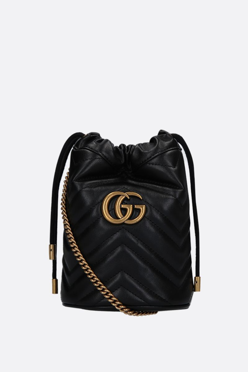 GUCCI: GG Marmont mini quilted leather bucket bag Color Black_1