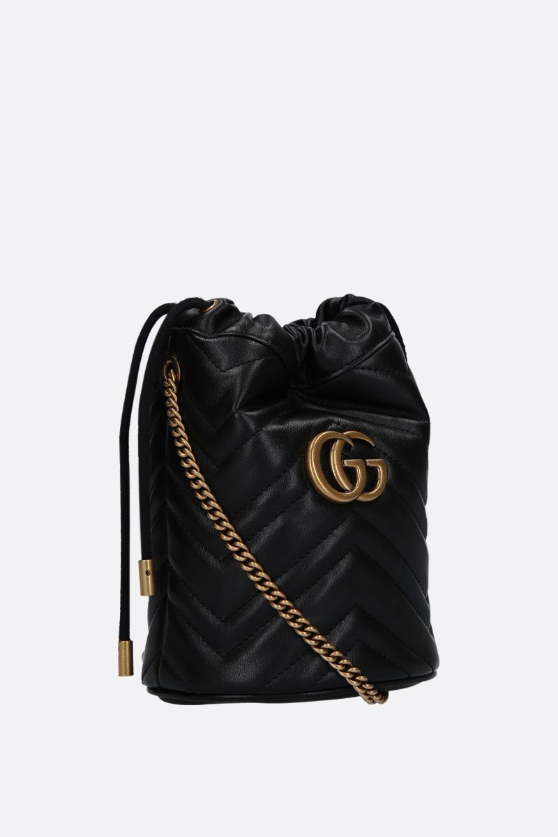 GUCCI: GG Marmont mini quilted leather bucket bag Color Black_2