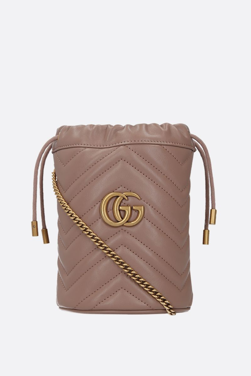 GUCCI: GG Marmont mini quilted leather bucket bag Color Pink_1