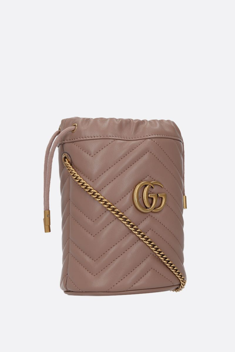 GUCCI: GG Marmont mini quilted leather bucket bag Color Pink_2