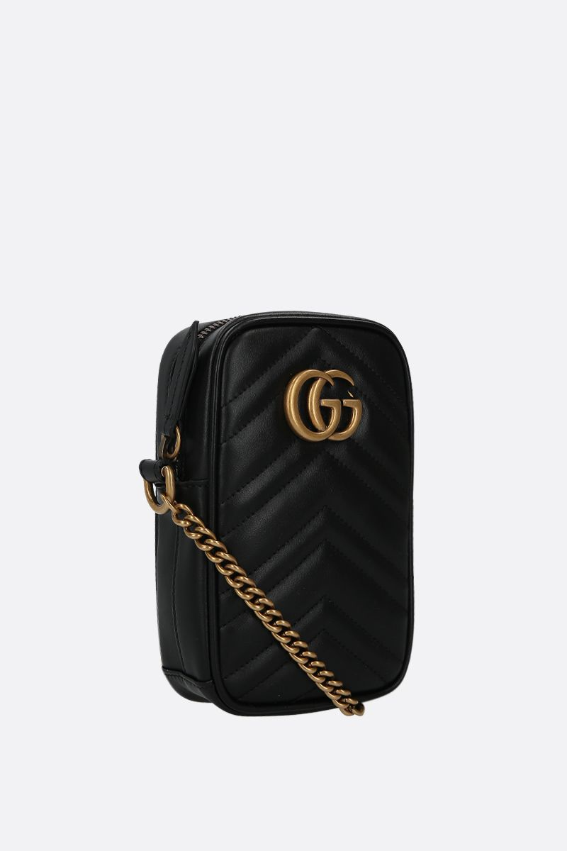 GUCCI: GG Marmont mini quilted leather crossbody bag Color Black_2