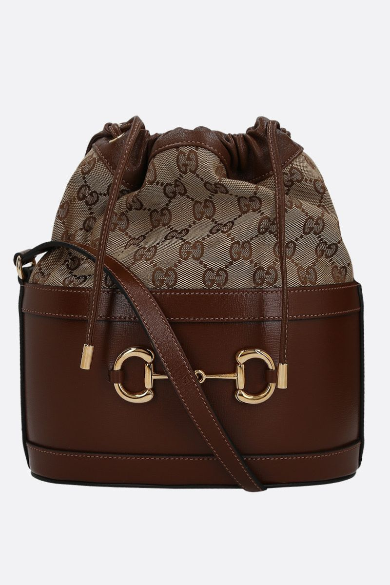 GUCCI: Gucci 1955 Horsebit bucket bag in leather and GG Supreme canvas Color Brown_1