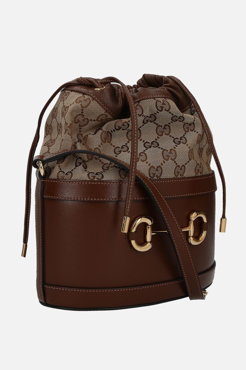 GUCCI: Gucci 1955 Horsebit bucket bag in leather and GG Supreme canvas Color Brown_2