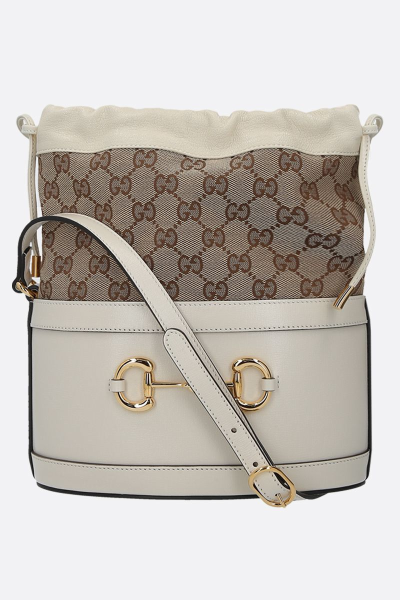 GUCCI: Gucci 1955 Horsebit bucket bag in leather and GG Supreme canvas Color White_1