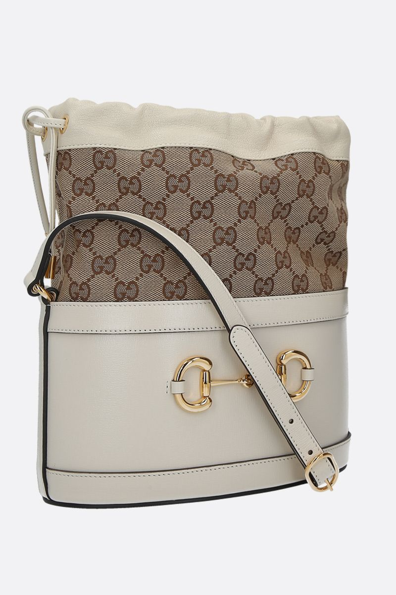 GUCCI: Gucci 1955 Horsebit bucket bag in leather and GG Supreme canvas Color White_2