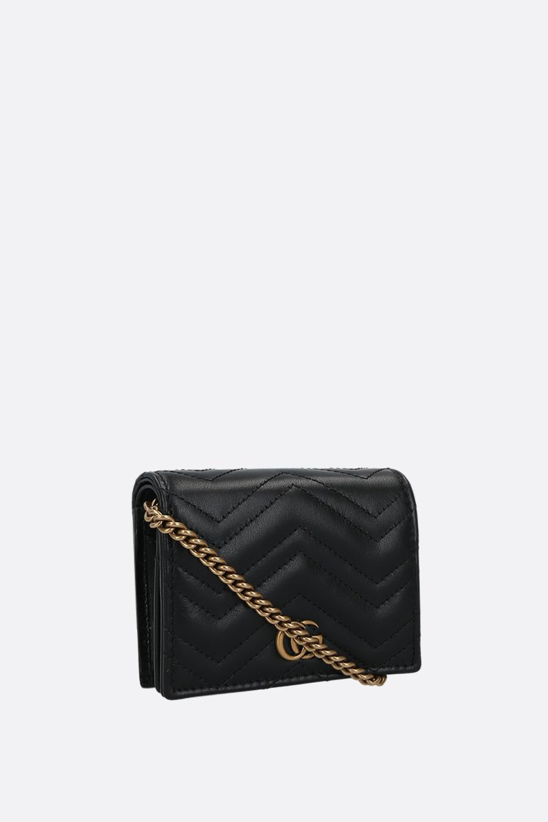 GUCCI: GG Marmont quilted leather chain wallet Color Black_2