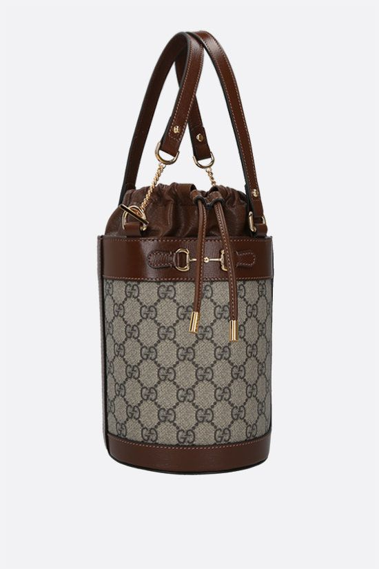 GUCCI: Horsebit 1955 small leather and GG Supreme canvas bucket bag_2