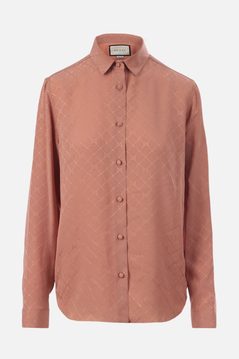 GUCCI: check GG silk crepe shirt Color Pink_1