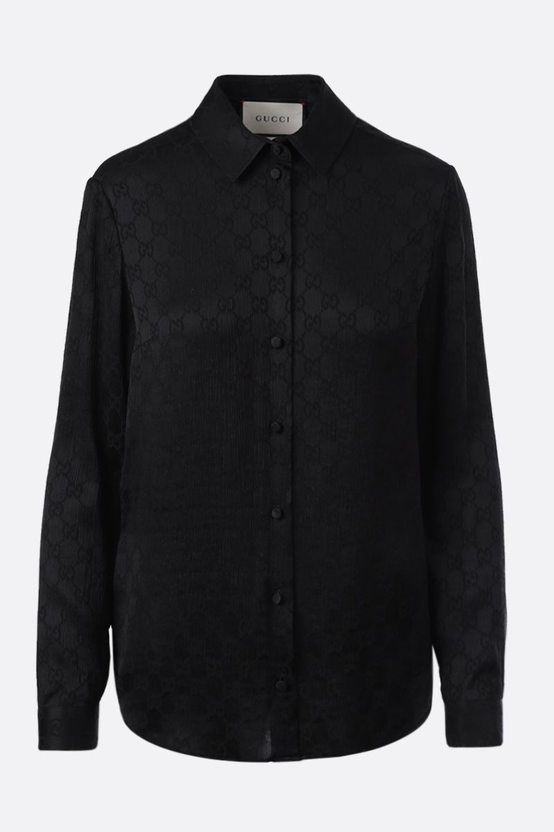 GUCCI: GG silk shirt Color Black_1