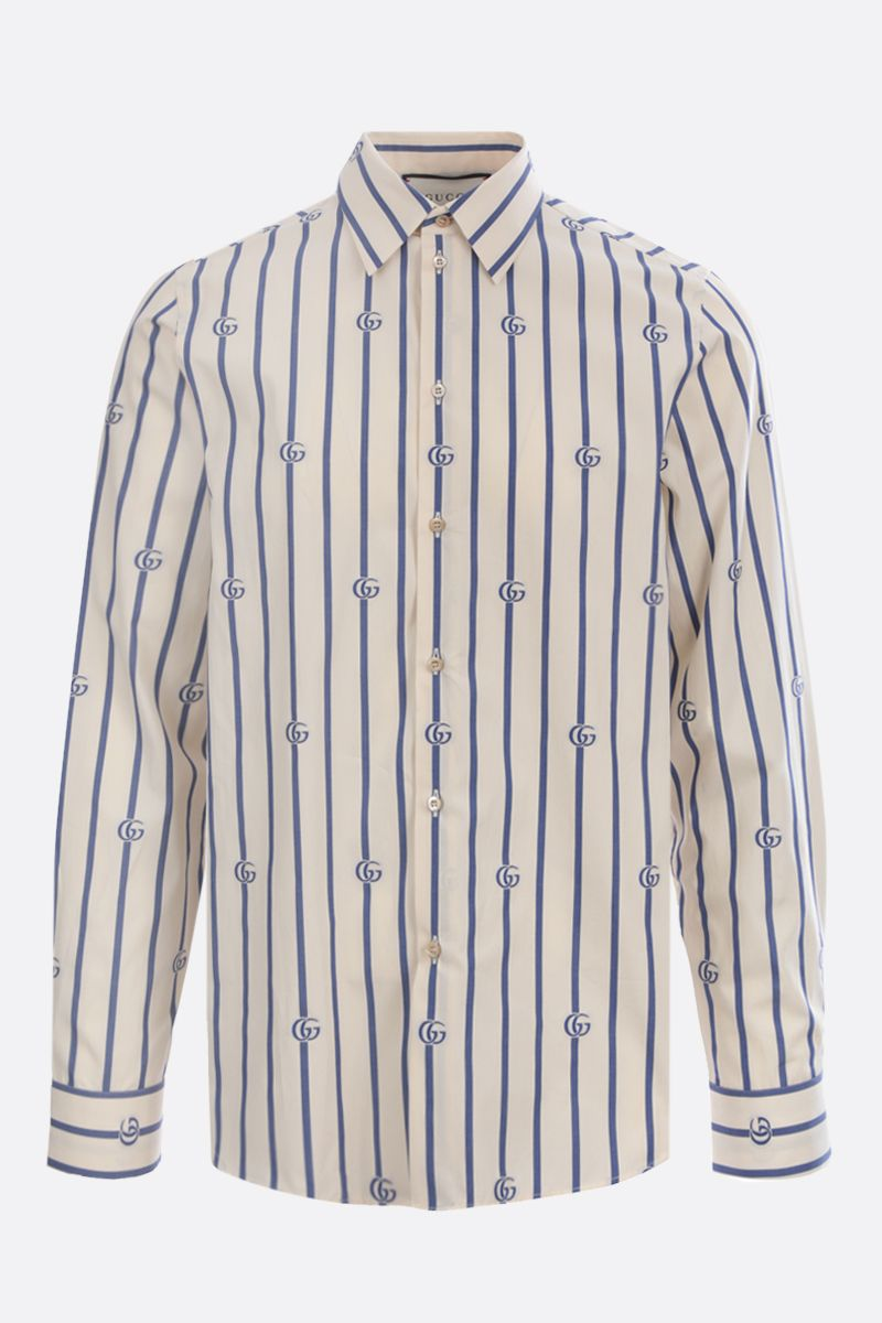 GUCCI: Double G stripe cotton shirt Color Neutral_1