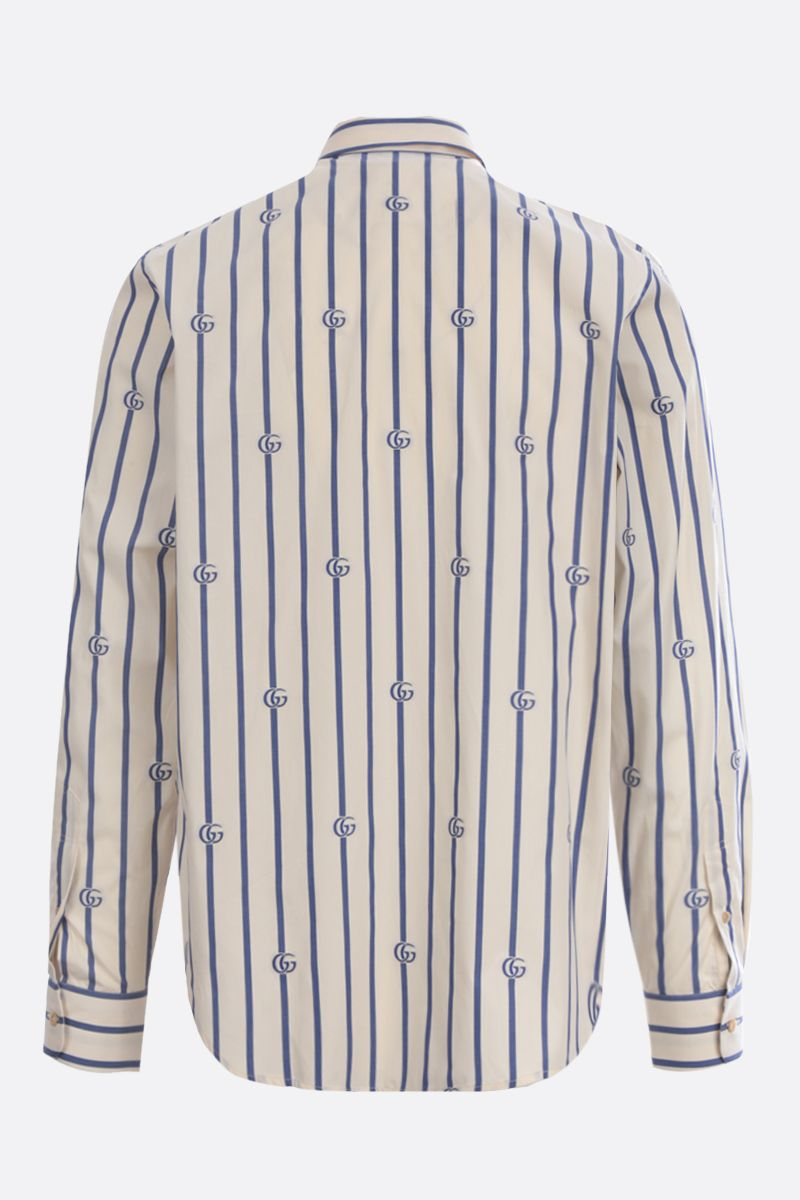 GUCCI: Double G stripe cotton shirt Color Neutral_2