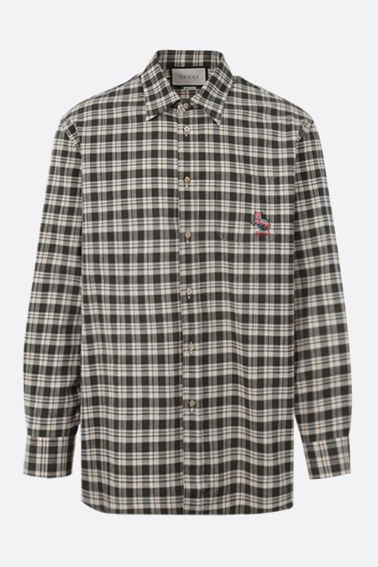 GUCCI: cat patch oversized check cotton shirt Color White_1
