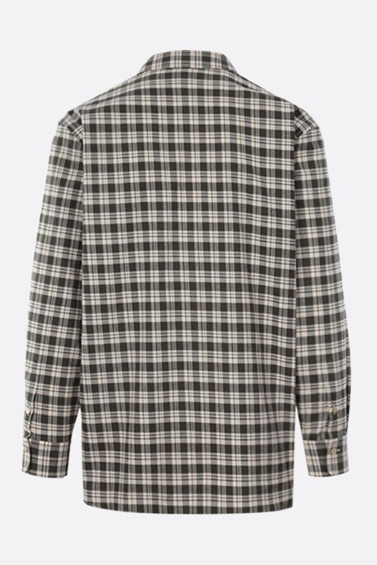 GUCCI: cat patch oversized check cotton shirt Color White_2