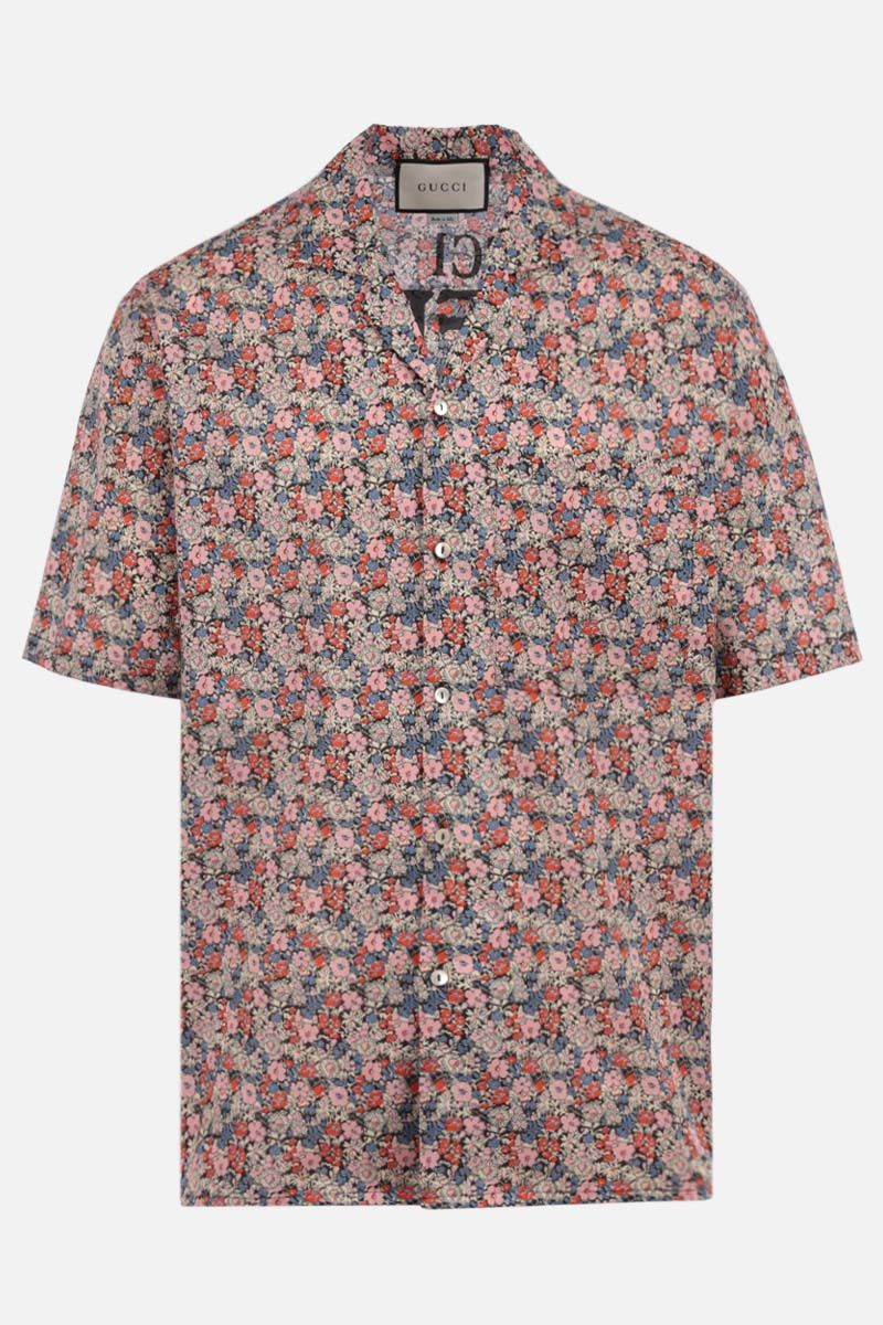 GUCCI: Gucci Liberty print cotton bowling shirt Color Pink_1
