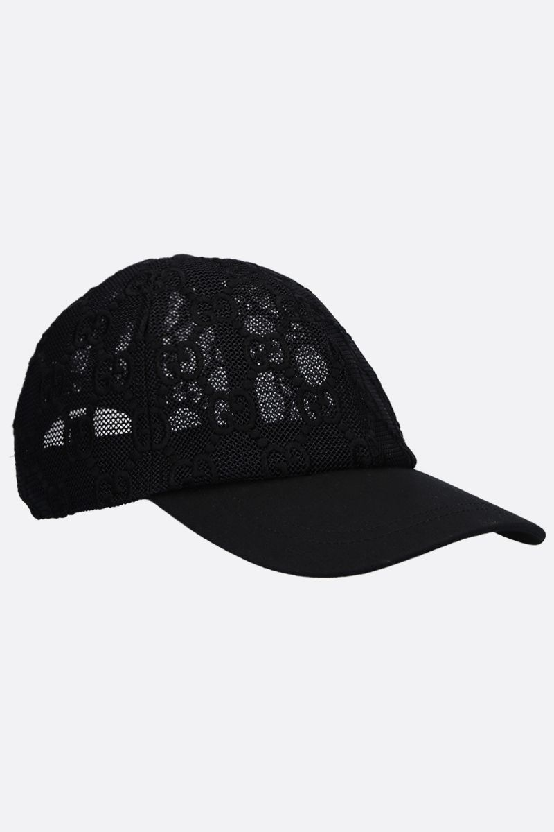 GUCCI: GG embroidered net baseball cap Color Black_2