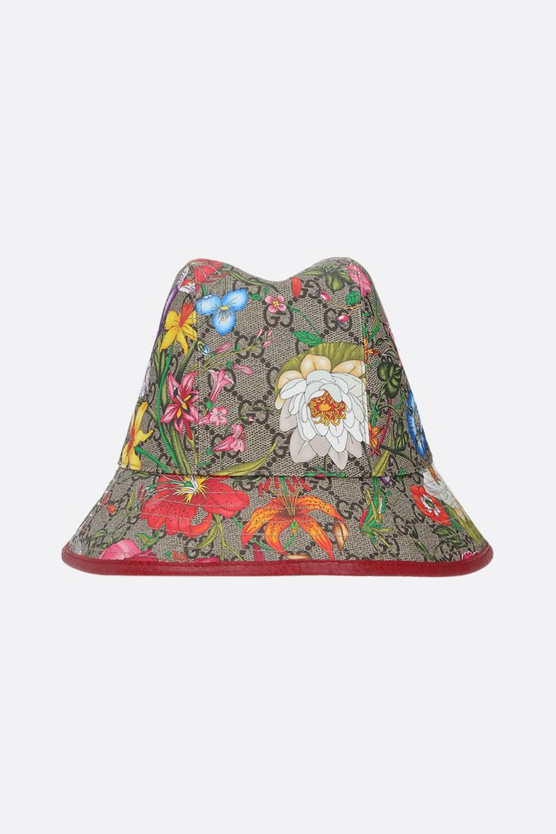 GUCCI: Flora printed GG Supreme bucket hat Color Brown_1