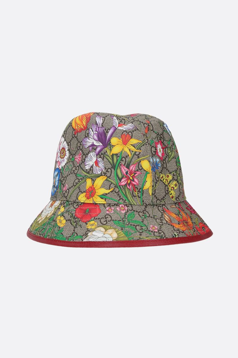 GUCCI: Flora printed GG Supreme bucket hat Color Brown_2