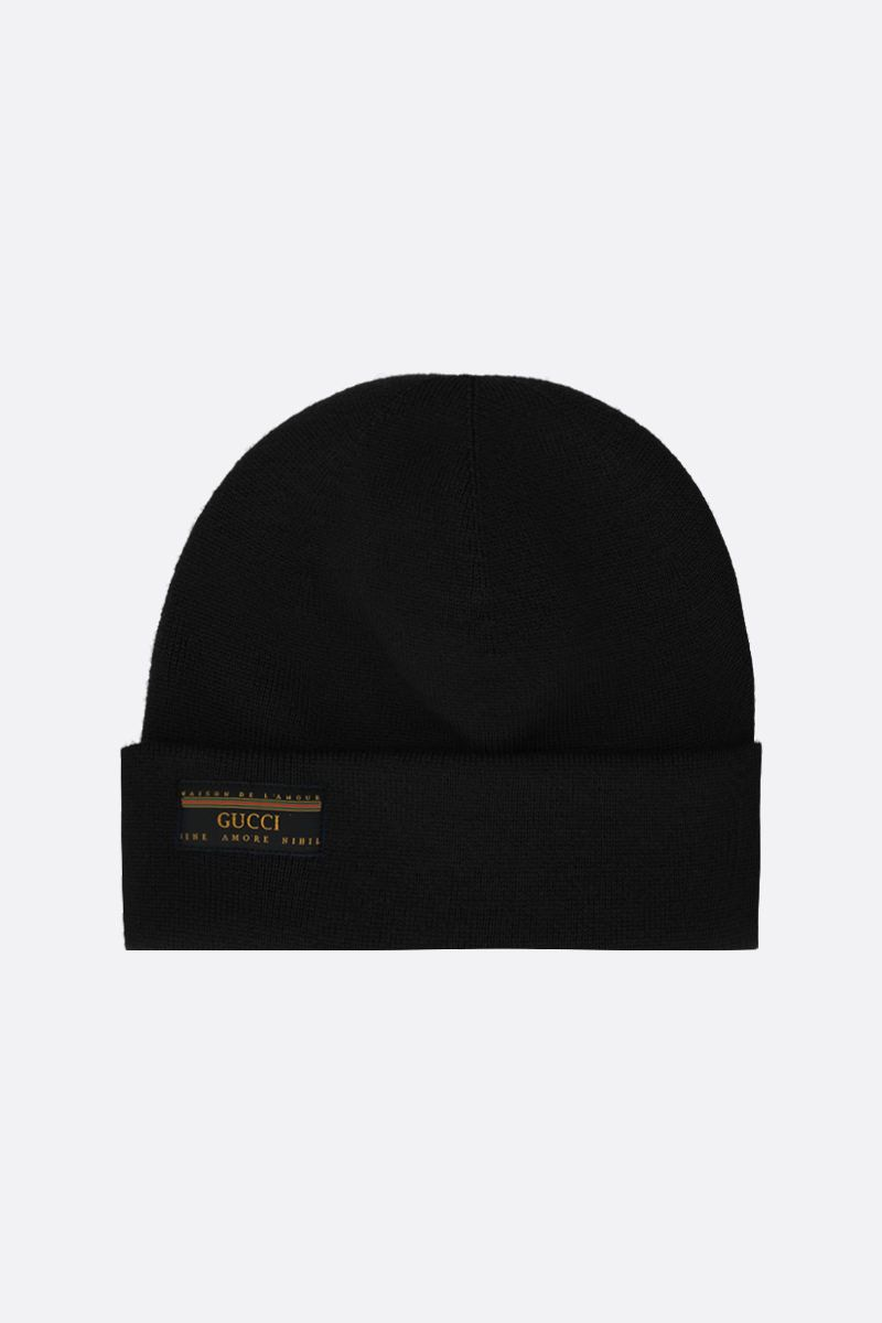 GUCCI: Maison de l'amour Gucci patch wool beanie Color Black_1