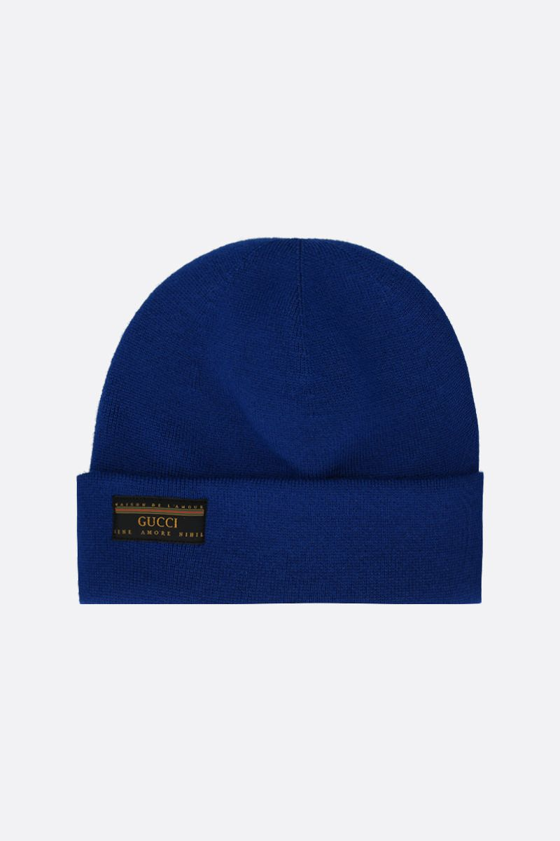 GUCCI: Maison de l'amour Gucci patch wool beanie Color Blue_1