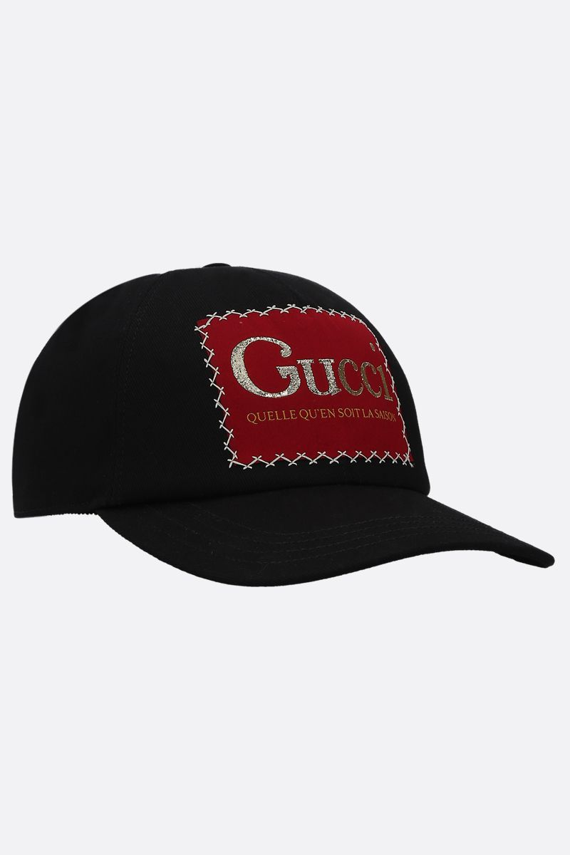 GUCCI: Gucci label-detailed cotton baseball cap Color Black_2