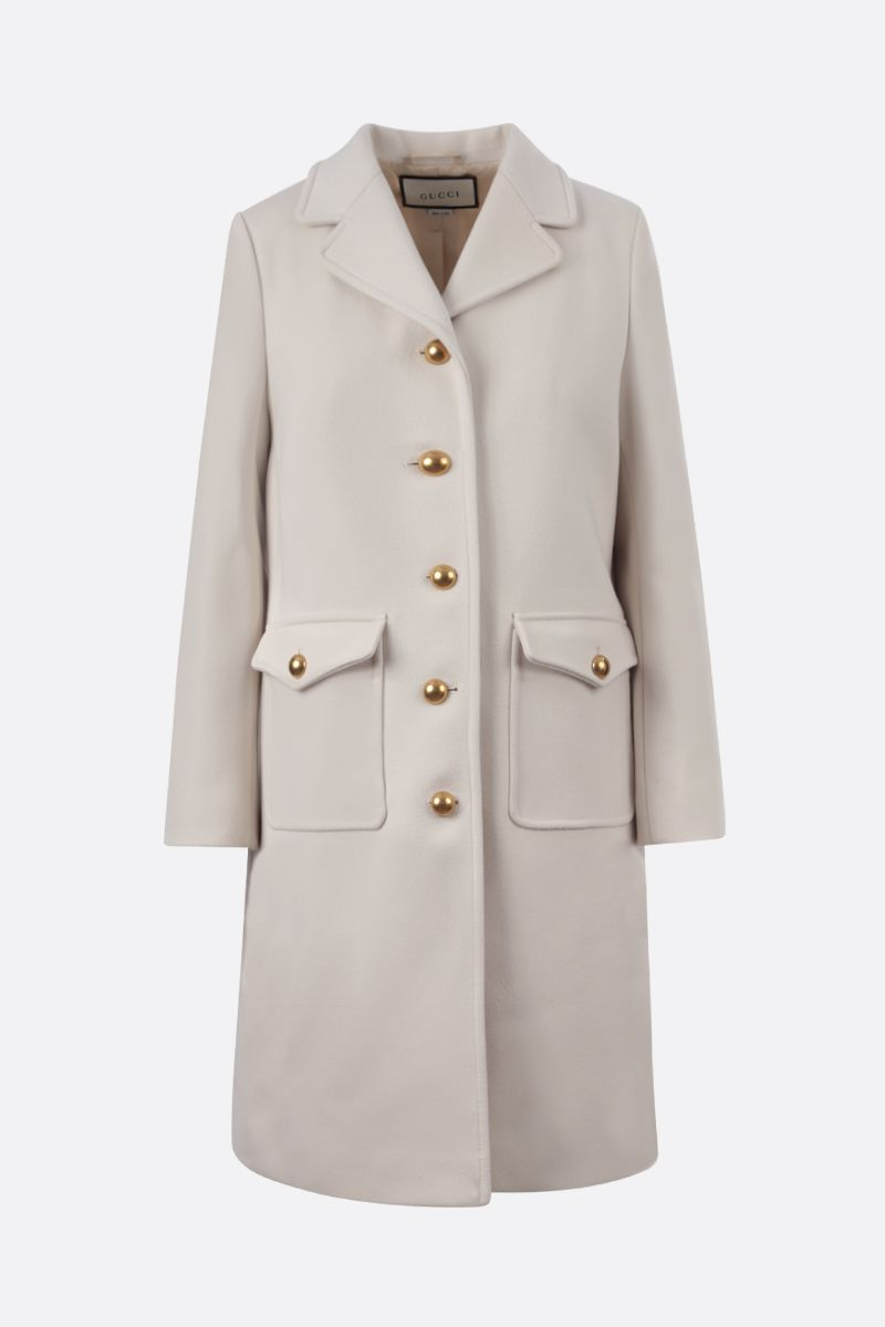 GUCCI: Double G-detailed wool single-breasted coat Color White_1