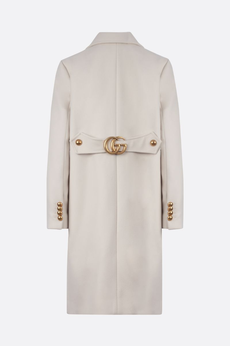 GUCCI: Double G-detailed wool single-breasted coat Color White_2
