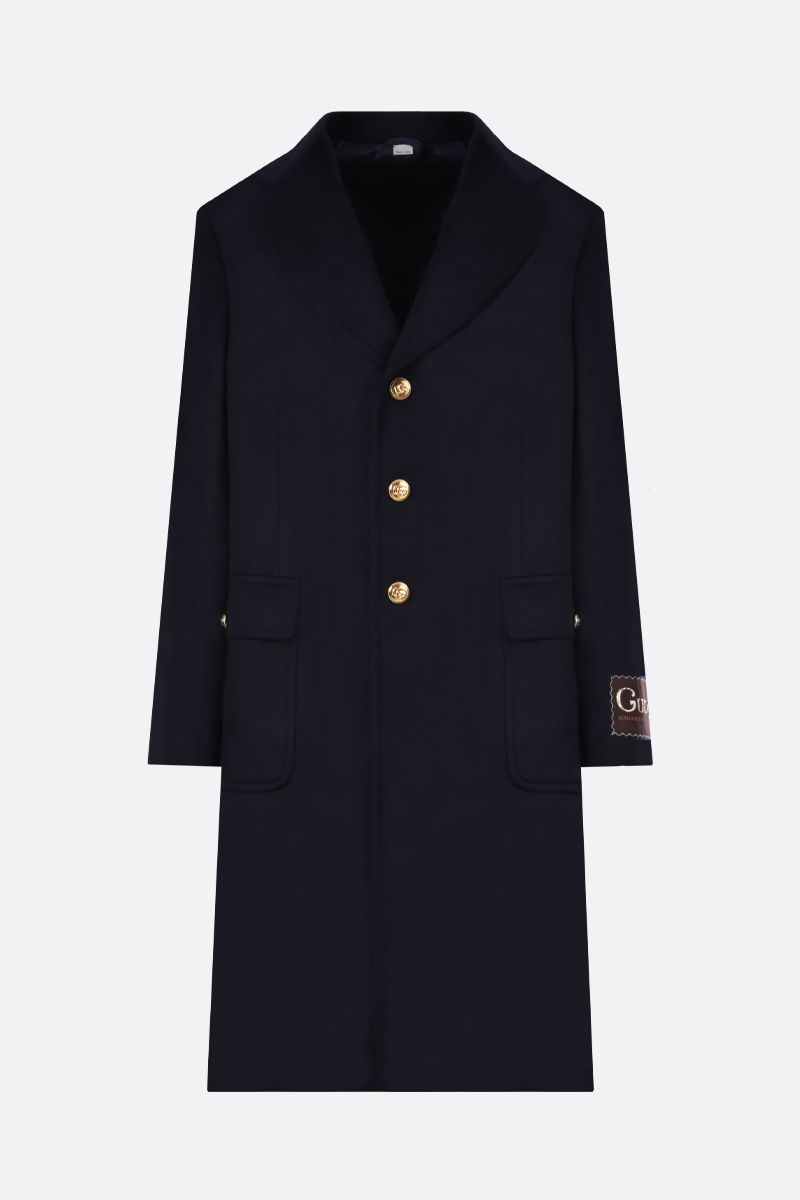GUCCI: cashmere wool blend single-breasted coat Color Blue_1