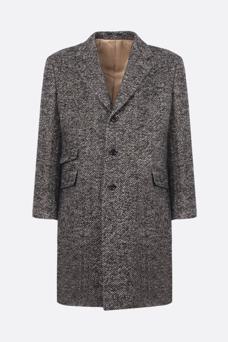 GUCCI: single-breasted herringbone-motif wool coat Color Black_1